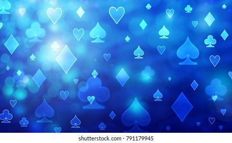 Blue abstract poker pattern of playing cards symbols.