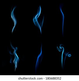 Blue abstract smoke collection on black background.