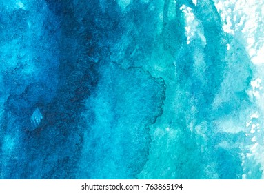 Blauer abstrakter Aquarell, Makrostrukturhintergrund