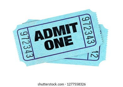 Blue admit one movie tickets isolated