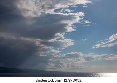 blue adria in croatia , cloudy sky