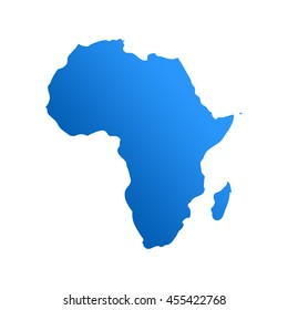 Blue Africa map. Africa map blank isolated on white background