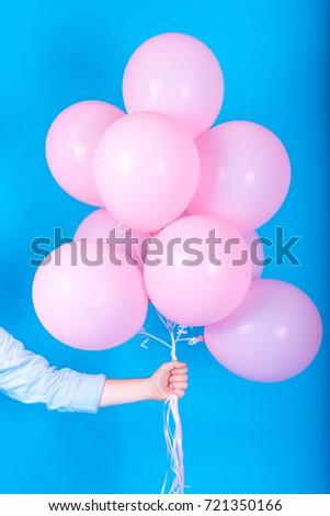 Man In Blue Shirt Holding Many Pink Air Balloons Free Space Summer Holidays Celebration Happy Birthday And Lifestyle Concept
