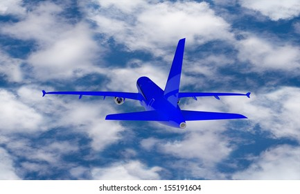 Blue airplane against the blue sky