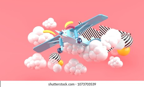 Blue airplane in the clouds on a pink background.-3d render.