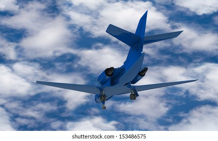 A Blue airplane prepare for take off on the ground isolated against the sky