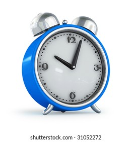 Blue alarm clock with bells on top isolated over white background