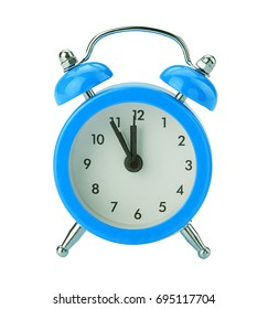 blue alarm clock isolated on white background. Clipping Path.