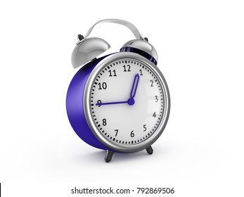 Blue alarm clock show 12 hours and 45 minutes. 3d rendering isolated on white background