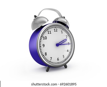 Blue alarm clock show 2 hours and 15 minutes. 3d rendering isolated on white background