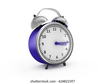 Blue alarm clock show 3 hours and 15 minutes. 3d rendering isolated on white background