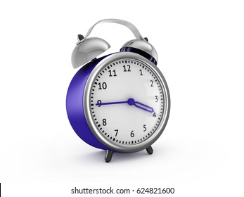 Blue alarm clock show 3 hours and 45 minutes. 3d rendering isolated on white background