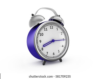 Blue alarm clock show 8 hours and 15 minutes. 3d rendering isolated on white background