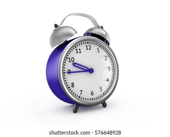 Blue alarm clock show 9 hours and 45 minutes. 3d rendering isolated on white background