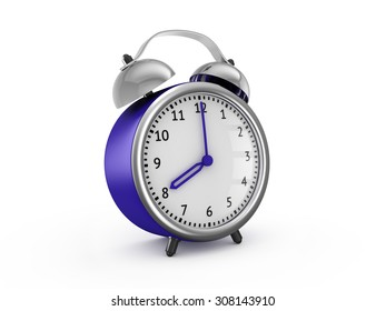 Blue alarm clock shows eight hours. 3d render isolated on white background