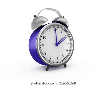 Blue alarm clock shows two hours. 3d render isolated on white background