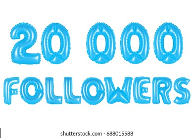 blue alphabet balloons, 20K (twenty thousand) followers, blue number and letter balloon