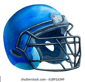 blue American football helmet isolated on a white background with detailed clipping path.