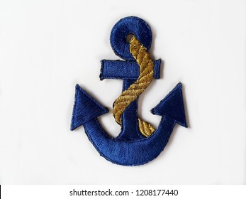 Blue anchor arm patch isolated on white background.Copy space.