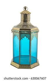 Blue Antique oriental lantern - Ramadan Lamp isolated on white background