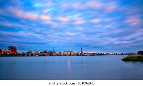 Blue Antwerp. A cityscape of Antwerp with the blue color mainly showing.