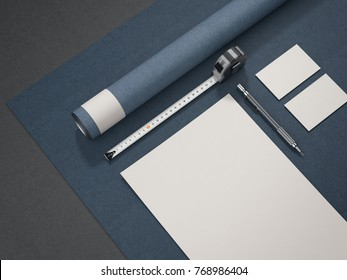 Blue architectural business mockup isolated on gray background. 3d rendering