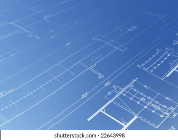 blue architecture plan