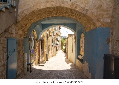 Blue archway in the historic old town of Safed (Tsfat), Israel, the city of Kabbalah and Jewish Mysticism.