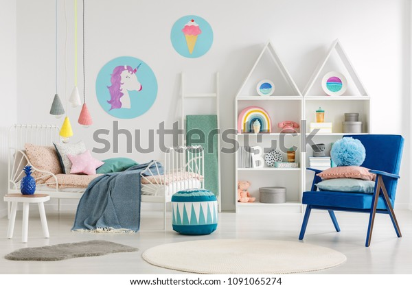 Astonishing Blue Armchair Pouf Colorful Kids Bedroom Stock Photo Edit Lamtechconsult Wood Chair Design Ideas Lamtechconsultcom