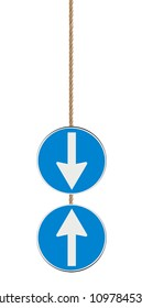 Blue arrow sign isolated on white background hanging from a rope indicating to go ahead or back - concept image