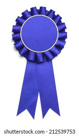 Blue Award Ribbon with Copy Space Isolated on White Background.