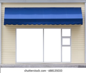 blue awning over glass window of the office concept : mock up advertisement on windows under awning