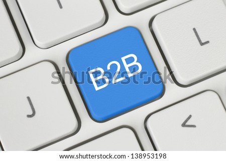 Blue B2B (business to business) button on keyboard close-up