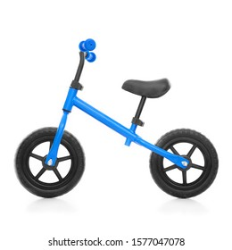 Blue Baby Balance Bike Isolated on White. Children's 2 Wheeled Sliding Vehicle. Kids Bicycle with Adjustable Seat & Handlebar. Cycling Toddler Training Sport Bike. Infant Walker Scooter. Side View