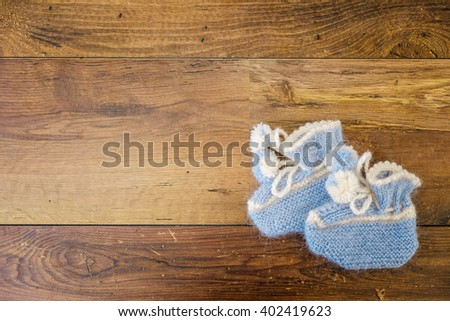 Blue Baby Bootees Little Boy On Stock Photo (Edit Now