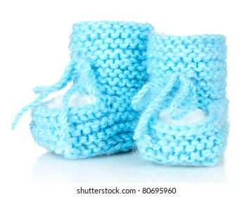 blue baby booties isolated on white