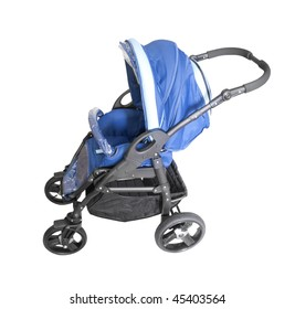 blue baby carriage isolated on white background