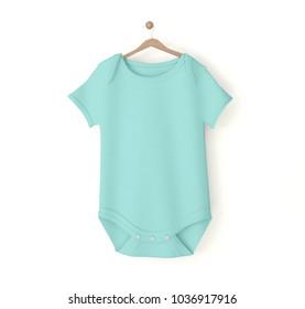 blue baby onesie isolated mockup 3d rendering