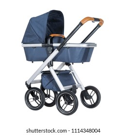 Blue Baby Stroller Isolated on White Background. Side View of Travel System with Canopy and Swivel Front Wheels. Infant Carriage Seat. Pushchair or Pram with Adjustable Showerproof Hood