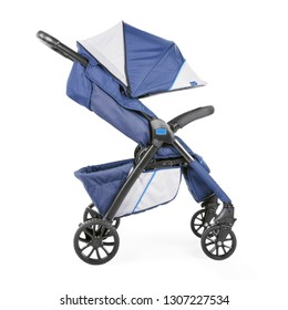 Blue Baby Stroller Isolated on White Background. Side View of Travel System with Carry Cot. Infant Carriage Seat. Pram with Canopy and Front Swivel Wheel. Pushchair with Showerproof Hood