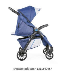Blue Baby Stroller Isolated on White Background. Side View of Travel System with Carry Cot. Pram with Canopy and Front Swivel Wheel. Infant Carriage Seat. Pushchair with Showerproof Hood