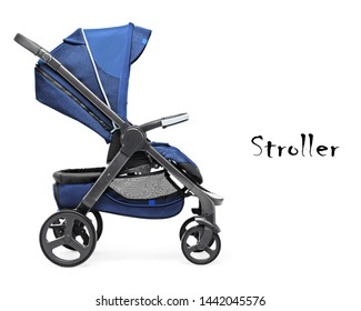 Blue Baby Transport Isolated on White Background. Stroller Side View. Infant Carriage Seat. Pushchair or Pram with Adjustable Showerproof Hood. Travel System with Canopy and Swivel Front Wheels