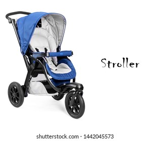 Blue Baby Travel System Stroller Isolated on White Background. Baby Transport with Canopy and Swivel Front Wheels. Pushchair or Pram with Adjustable Showerproof Hood. Side View of Infant Carriage Seat