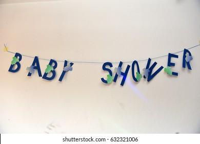 Blue babyshower banner for babyboy.