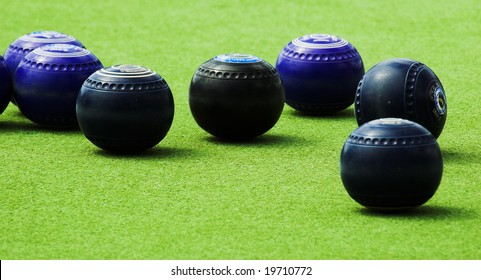 Blue and Back Lawn Bowls on an Artificial Bowling Green