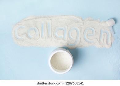 blue background with collagen powder close up