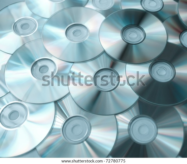 blue background of compact discs
