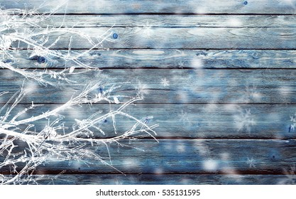 blue background with icy branches