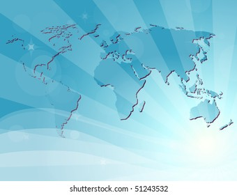 Blue background with map of the world. Vector version available