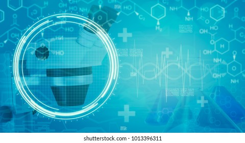 blue background with medical and chemical symbols (3d render)